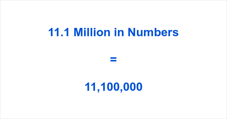 11.1 Million in Numbers