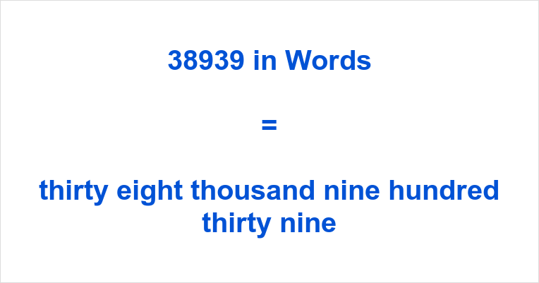 38939 in Words