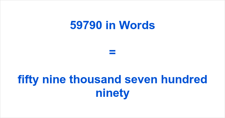 If You Have Typed 59790 English Or Something Similar Like Fifty Nine Thousand Seven Hundred And Ninety Number In The Search Engine Of Your Choosing