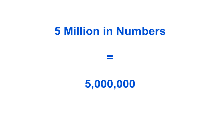 how to write 5 million in numbers