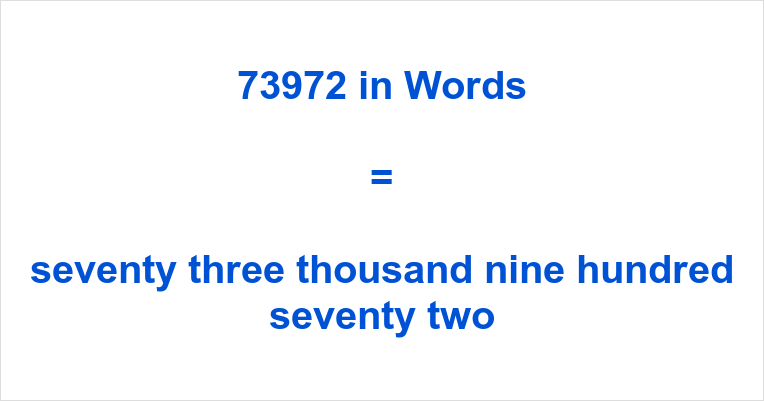 If you have typed 73972 English or something similar like seventy-three  thousand, nine hundred and seventy-two number in the search engine of your  choosing, ...