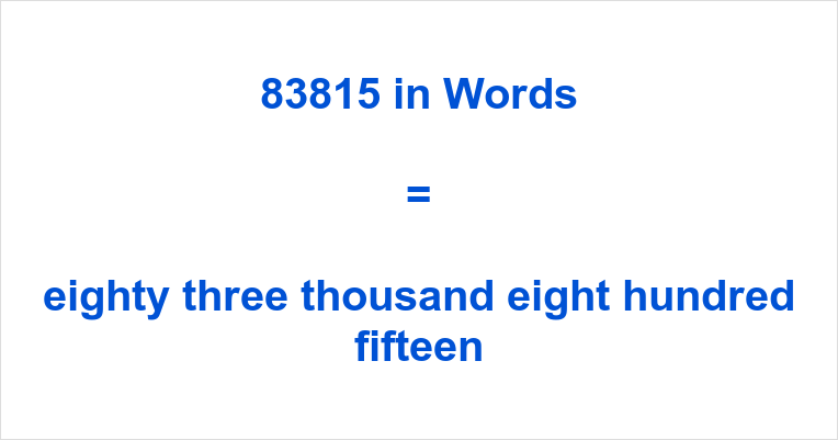 83815 in Words